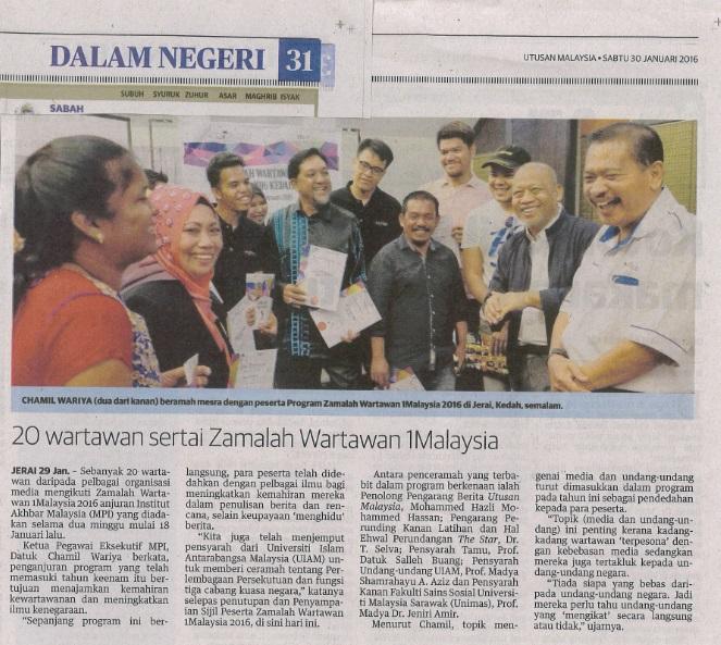 Utusan Malaysia, 30 Jan 2016