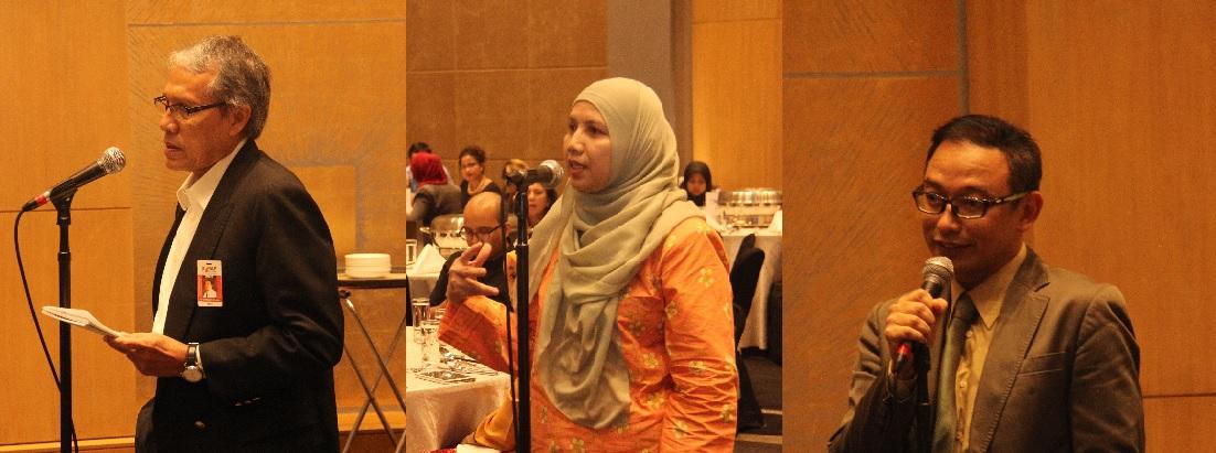 Tiga peserta bertanyakan soalan, dari kiri : Dr.  Khairuddin Othman, Dekan Fakulti Komunikasi, Universiti HELP; Dr. Hamisah Hassan, Ketua Jabatan Komunikasi, UPM; Kamarul Bahrin Haron, Timbalan Ketua Pengarang Astro AWANI.