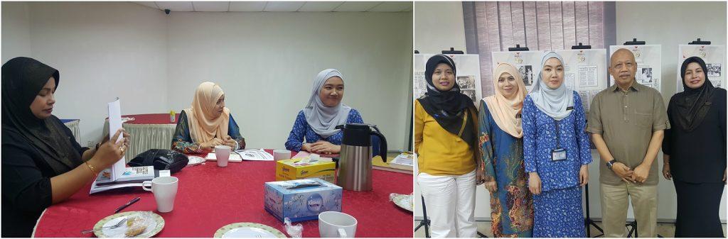 Gambar kiri: Puan Haziah, Puan Siti Irin dan Puan Aninah Janang hadir ke MPI bagi membincangkan penganjuran Kembara Bahasa Media. Gambar kanan: Kelihatan Puan Norlida (kiri sekali) dan Datuk Dr. Chamil Wariya bergambar kenangan bersama Team DBP setelah selesai bermesyuarat.